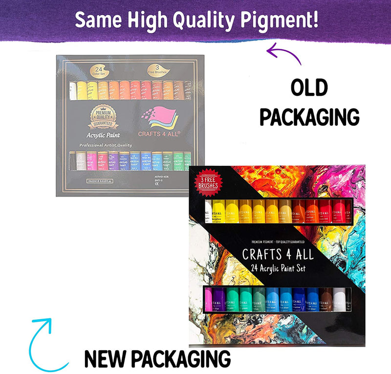 Acrylic Paint Set 24 Colors by Crafts 4 ALL Perfect for Canvas, Wood, Ceramic, Fabric. Non Toxic & Vibrant Colors. Rich Pigments Lasting Quality for Beginners, Students & Professional Artist