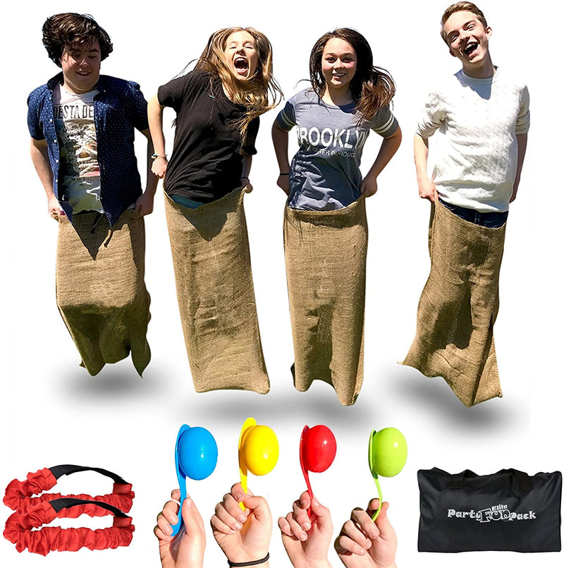 Elite Sportz Equipment  4 Potato Sack Race Bags Legged Race Bands, Eggs & Spoons