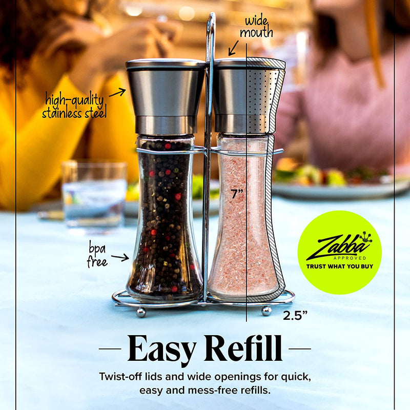 Salt and Pepper Grinder Set with Matching Stand - Stainless Steel Salt and Pepper Shakers with Glass Body and Adjustable Ceramic Mill - Set of 2