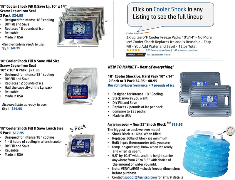 Cooler Shock 18-Degree F. Hard Packs Patent Pending - No Ice Required –Tough Innovative Pack Designed with a Ribbed Surface Area to Get Cold Fast. C.S. Has Over 4,000 Reviews Average 4.6 Stars