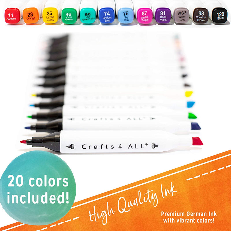 Crafts 4 ALL Fabric Markers Permanent Premium Quality Minimal Bleed Bright Dual tip Art Fabric pens Child Safe,Water-Based & Non-Toxic.