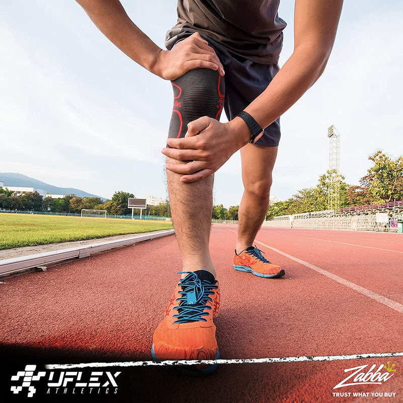UFlex Athletics Knee Compression Sleeve Support for Running, Jogging, Sports - Brace for Joint Pain Relief, Arthritis and Injury Recovery - Single Wrap