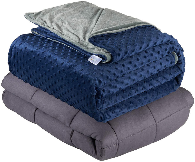 Quility Premium Kids Weighted Blanket & Removable Cover - Navy Blue