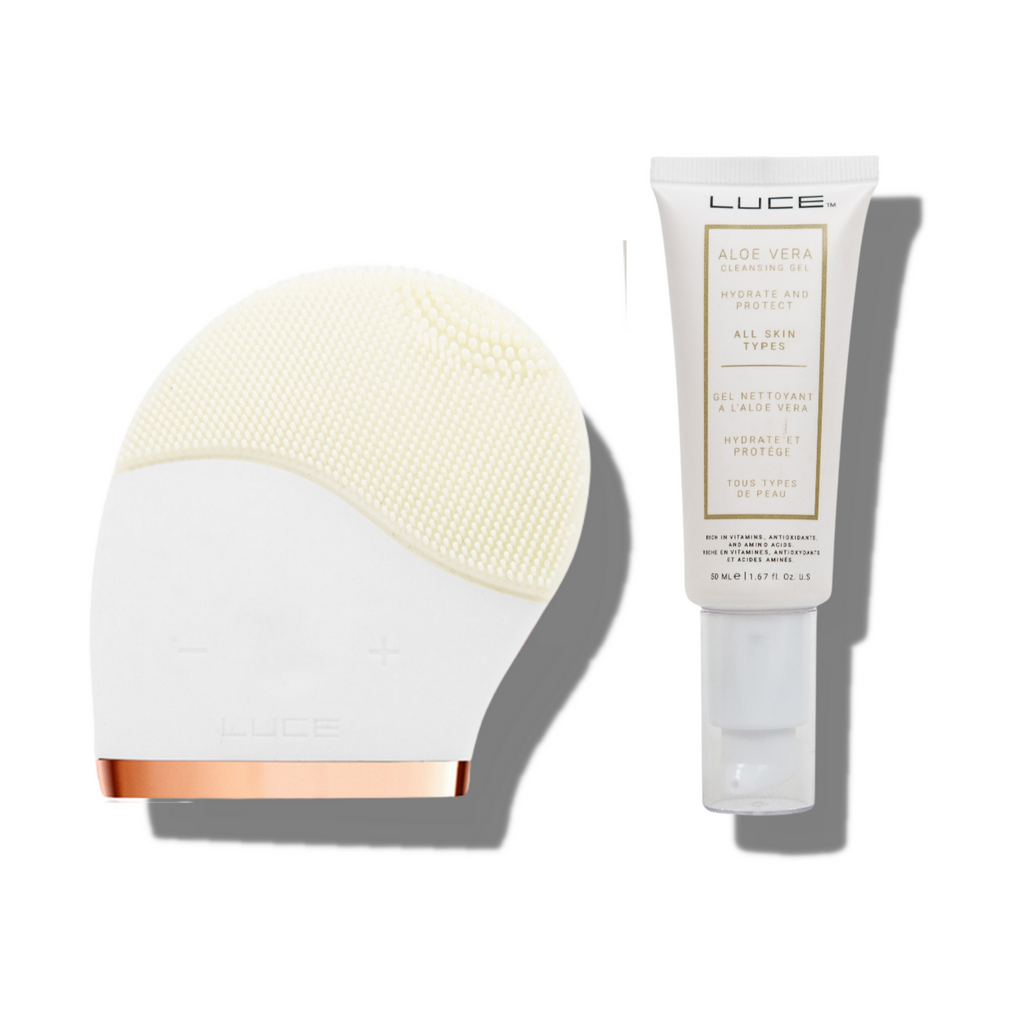 LUCE Facial Cleansing Brush & Aloe Vera Gel Face Wash