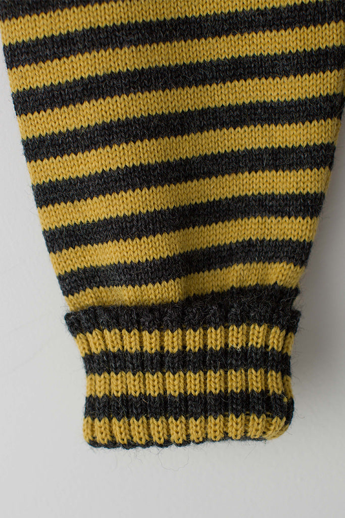 Men's Charcoal & Mustard Striped Traditional Guernsey Jumper
