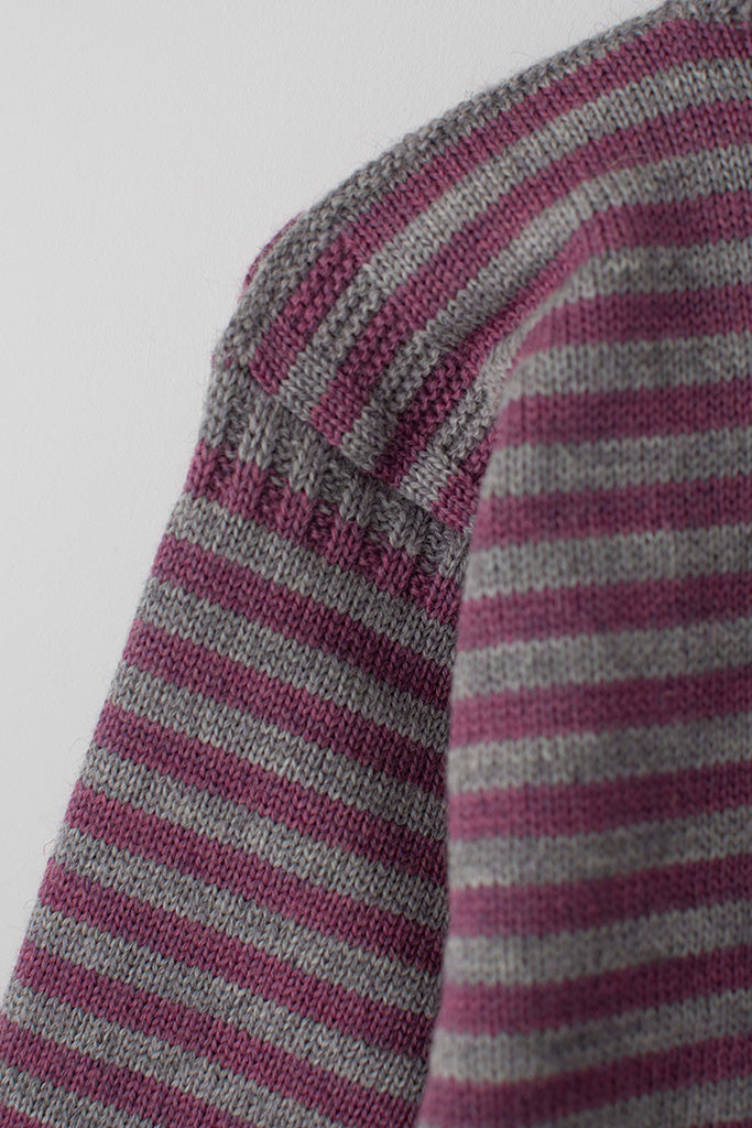 Women's Lupin Pink & pale Grey Striped Traditional Guernsey Jumper