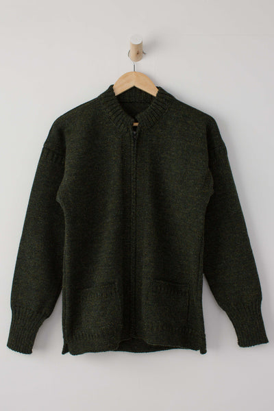 Men's Military Green Zipped Guernsey Jacket