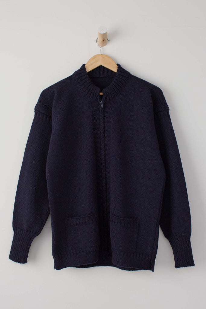 Women's Navy Zipped Guernsey Jacket