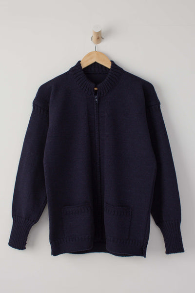 Men's Navy Zipped Guernsey Jacket