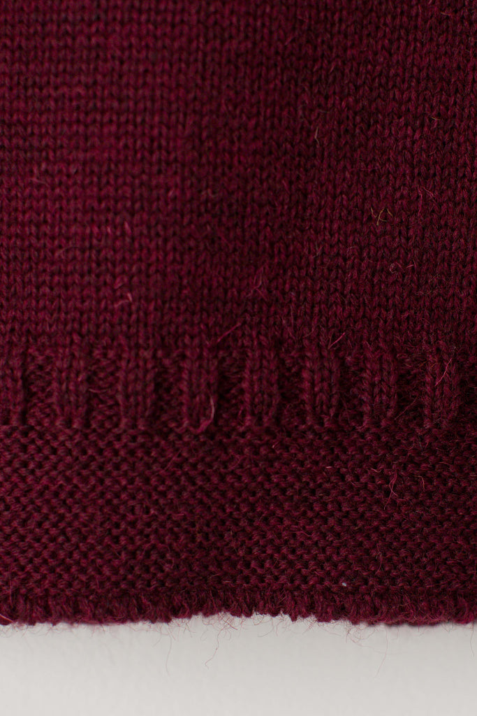 Women's Burgundy Traditional Guernsey Jumper