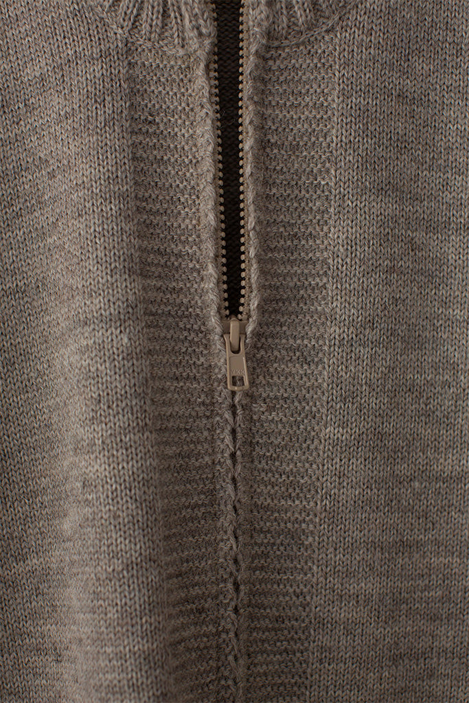 Men's Beige Zipped Guernsey Jacket
