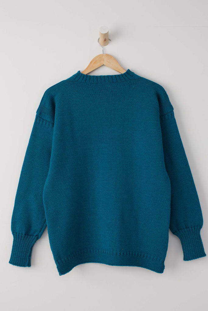 Women's Kingfisher Blue Traditional Guernsey Jumper