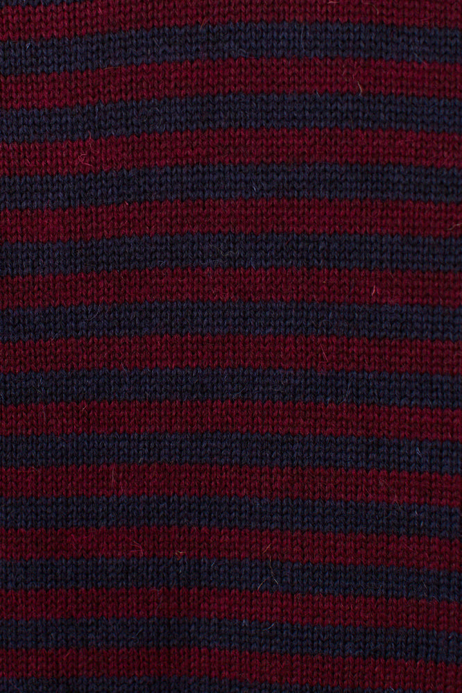Men's Navy & Burgundy Striped Traditional Guernsey Jumper