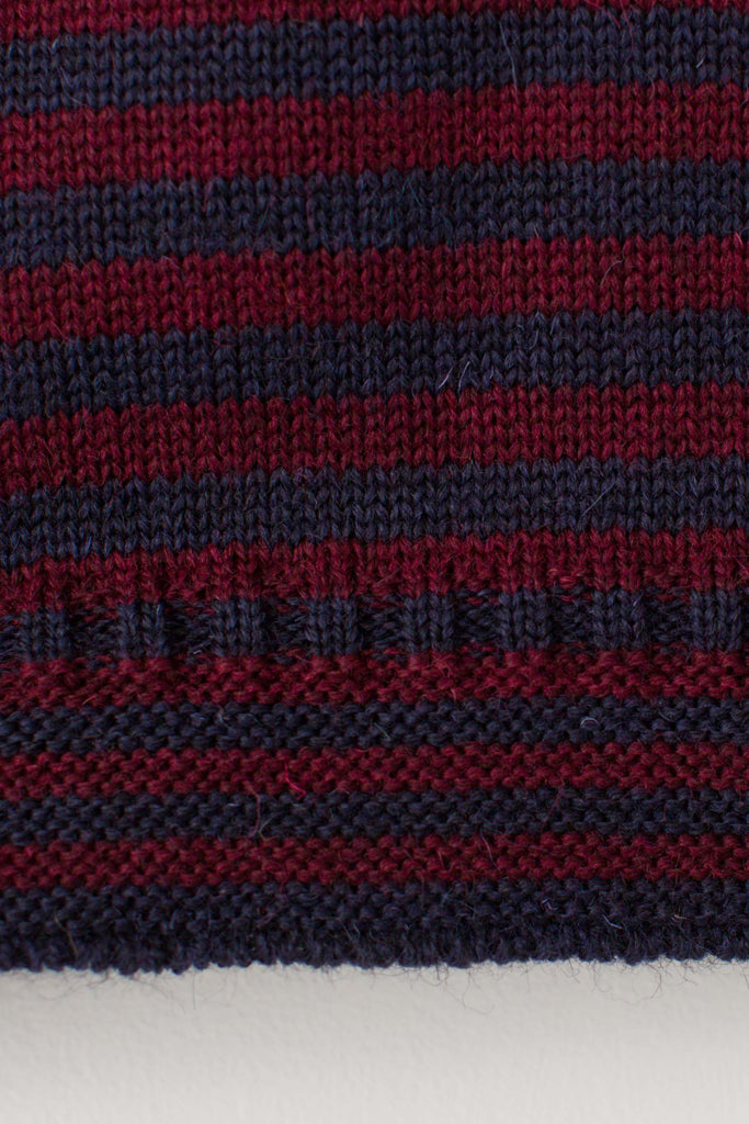 Women's Navy & Burgundy Striped Traditional Guernsey Jumper