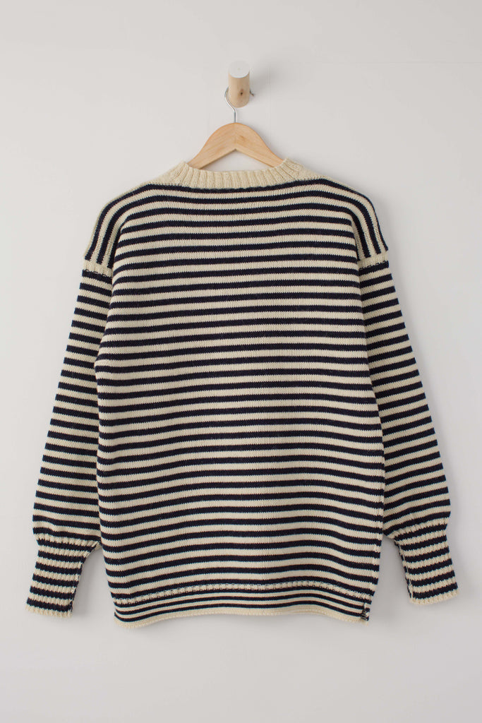 Women's Cream & Navy Striped Traditional Guernsey Jumper