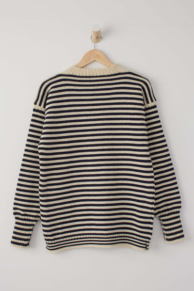 Kids Cream & Navy Striped Traditional Guernsey Jumper