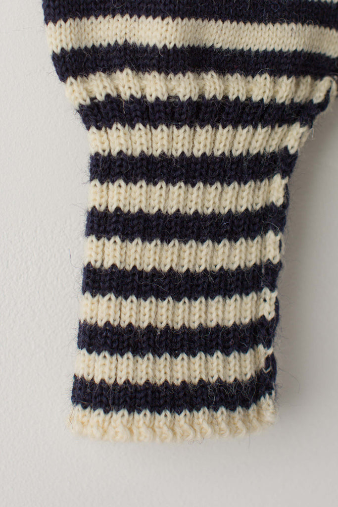 Men's Cream & Navy Striped Traditional Guernsey Jumper