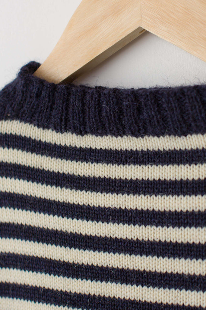 Women's Navy & Cream Striped Traditional Guernsey Jumper