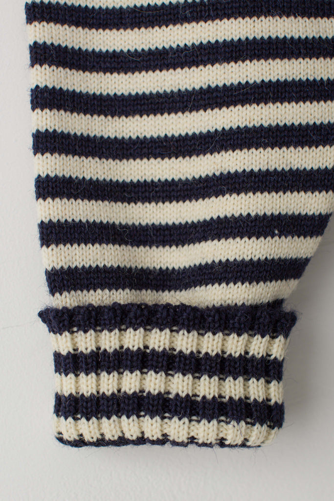Men's Navy & Cream Striped Traditional Guernsey Jumper