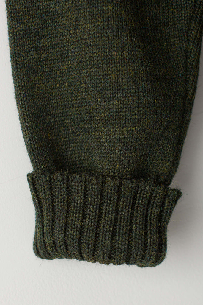 Men's Military Green Traditional Guernsey Jumper