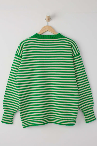 Men's Kelly Green & Aran Striped Traditional Guernsey Jumper