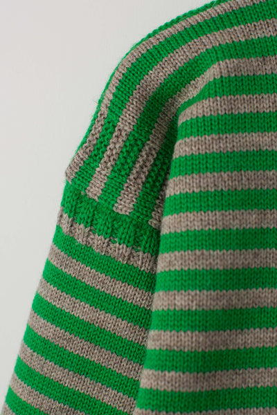 Men's Kelly Green & Grey Striped Traditional Guernsey Jumper