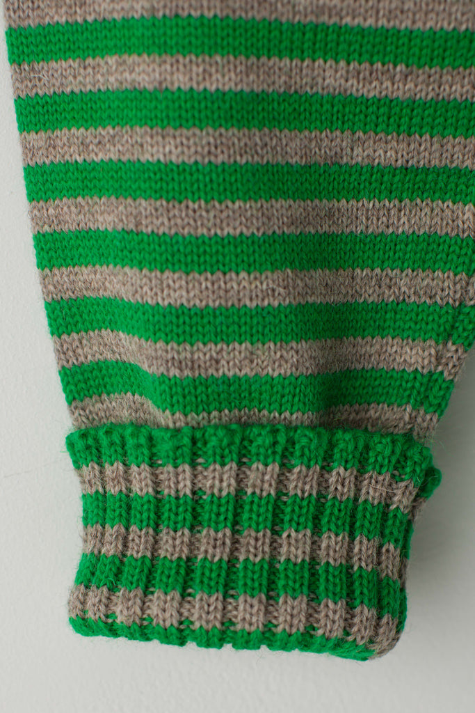 Men's Kelly Green & Oatmeal Striped Traditional Guernsey Jumper