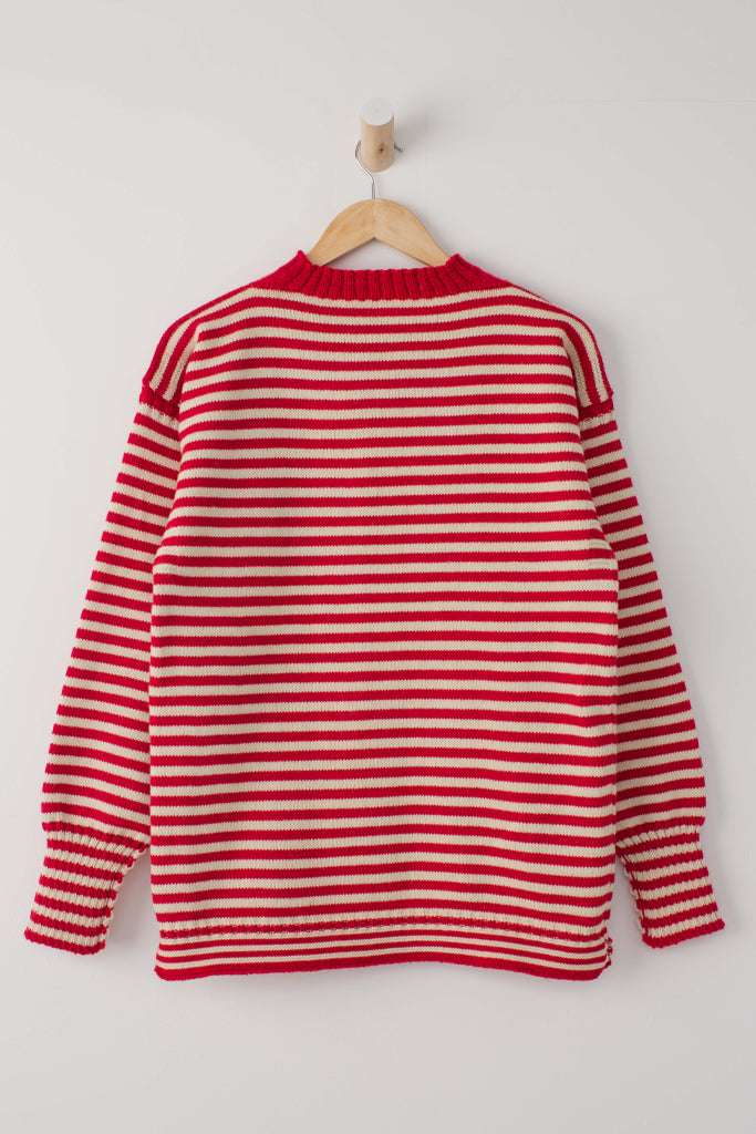 Men's Red & Aran Striped Traditional Guernsey Jumper