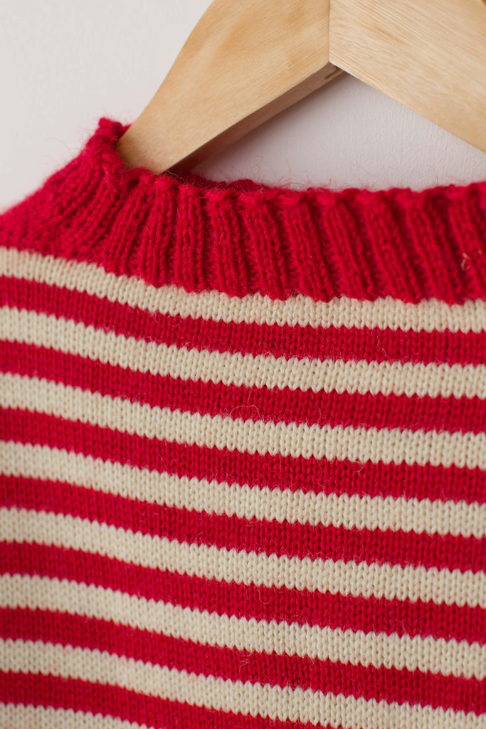 Women's Red & Aran Striped Traditional Guernsey Jumper