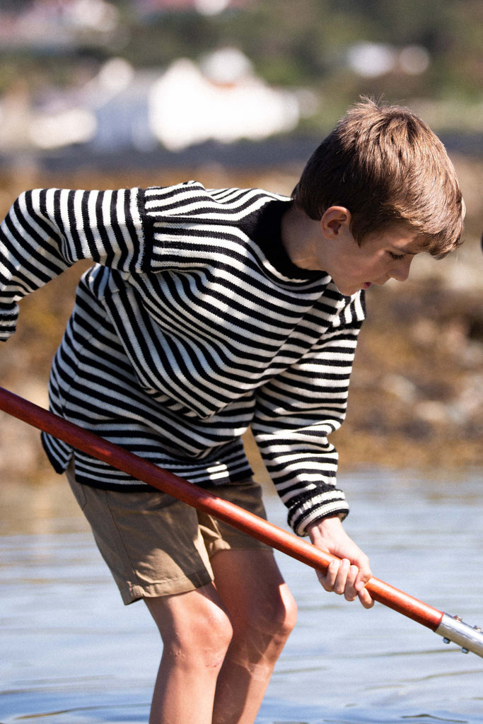 Kids Navy & Cream Striped Traditional Guernsey Jumper