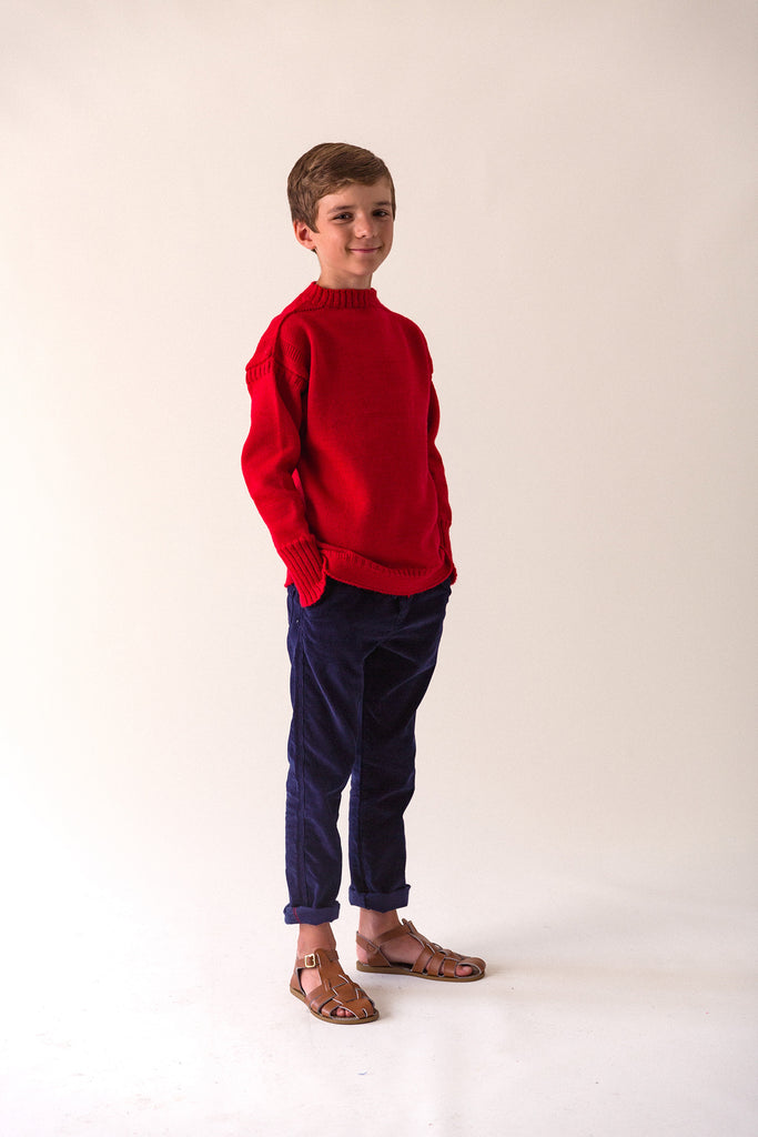 Kids Tartan Red Traditional Guernsey Jumper