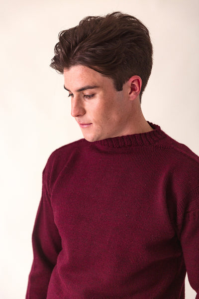 Men's Burgundy Traditional Guernsey Jumper