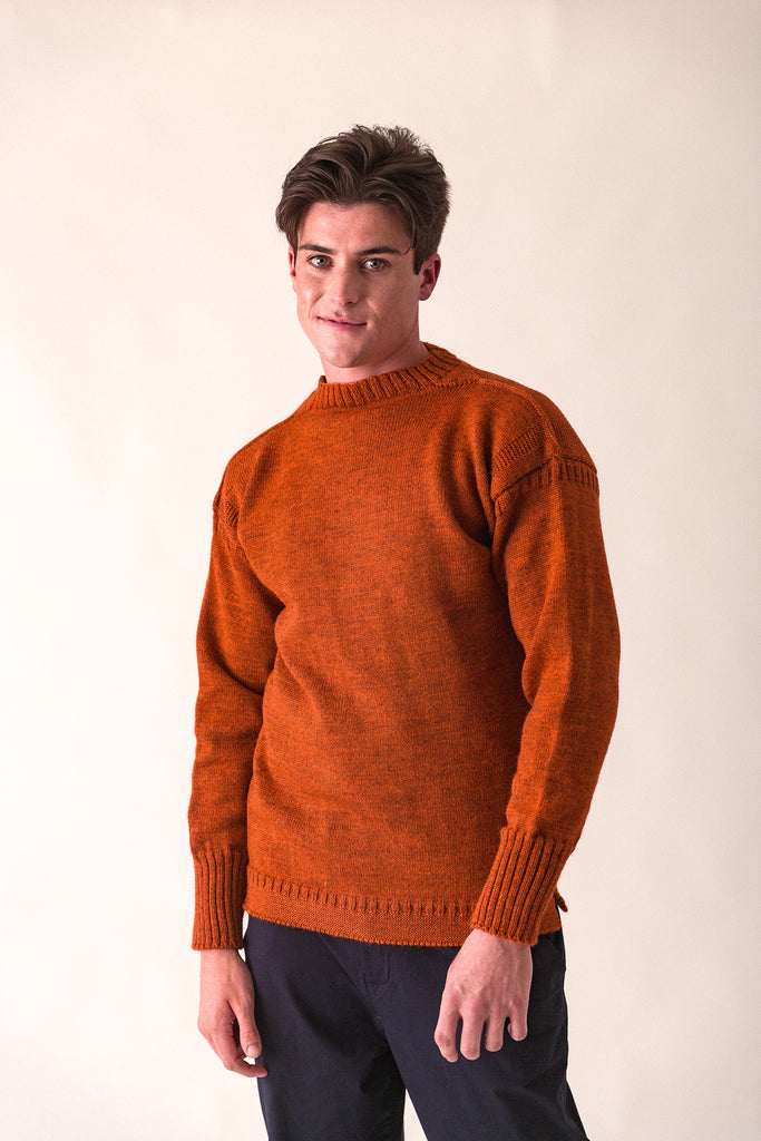 Men's Burnt Orange Traditional Guernsey Jumper