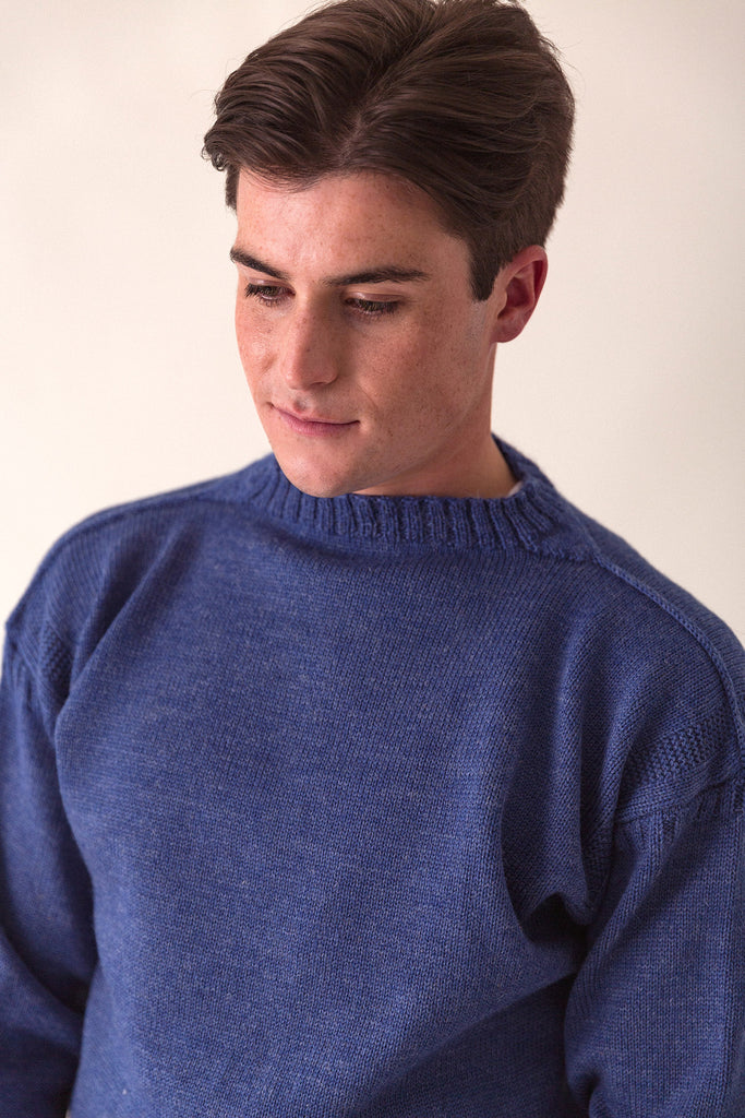 Men's Indigo Blue Traditional Guernsey Jumper