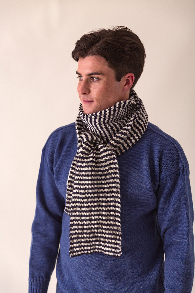 Navy & Aran Striped Knitted Scarf