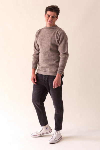 Men's Beige Traditional Guernsey Jumper