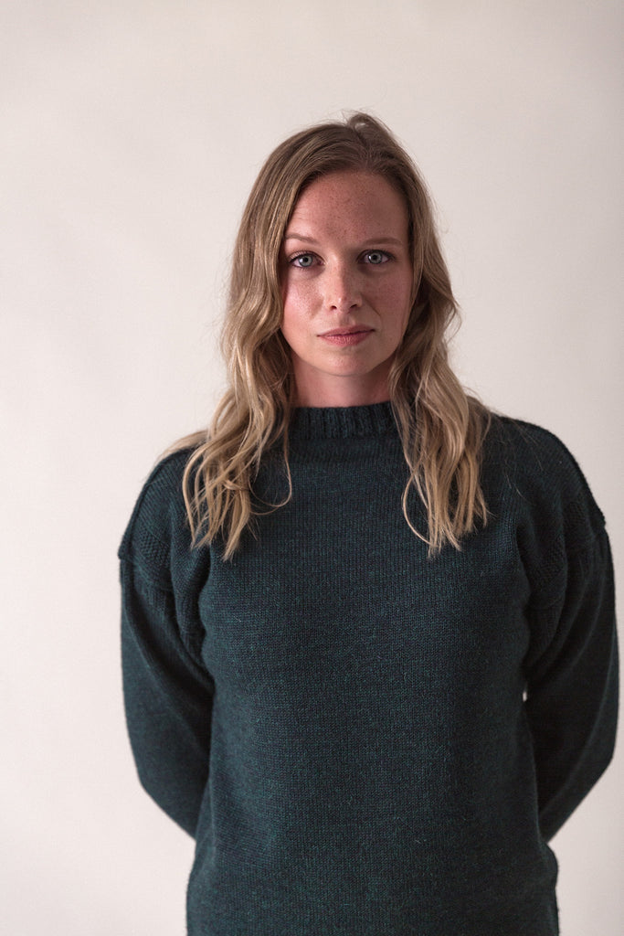 Women's Dark Green Traditional Guernsey Jumper