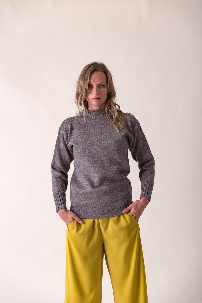 Women's Mid Grey Traditional Guernsey Jumper