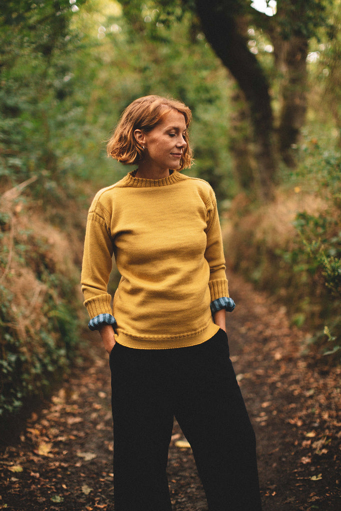 Women's Mustard Traditional Guernsey Jumper