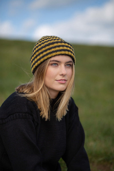 Charcoal & Mustard Yellow Striped Knitted Beanie