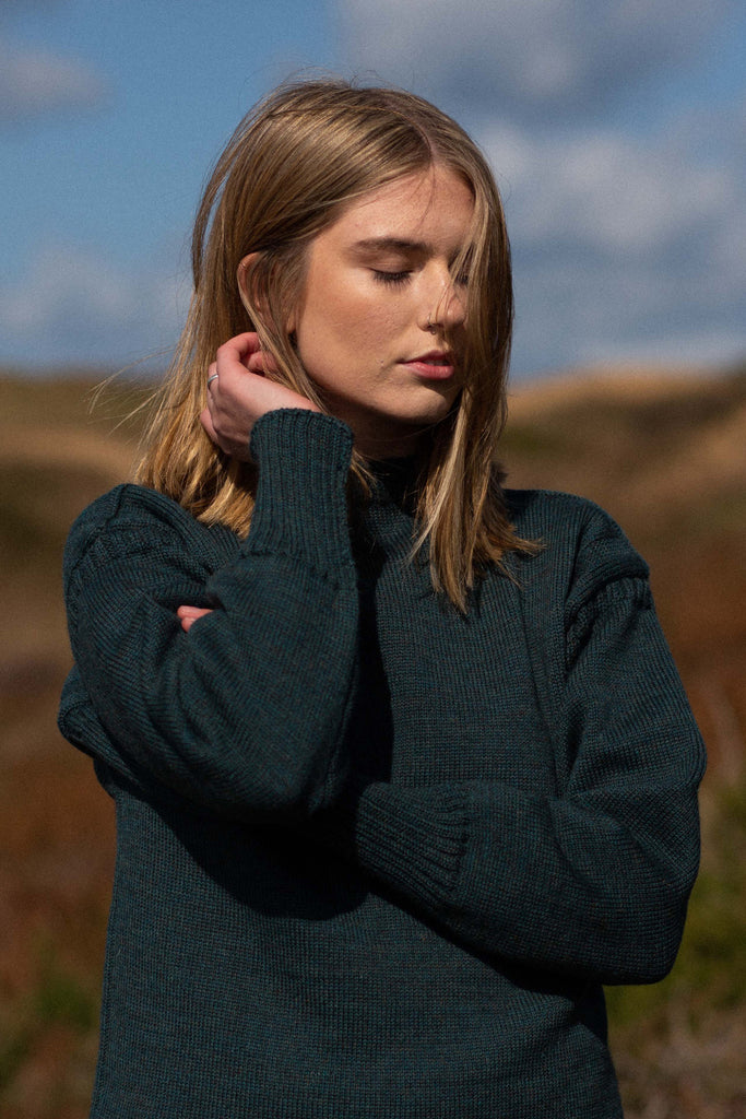 Women's Mallard Green Traditional Guernsey Jumper