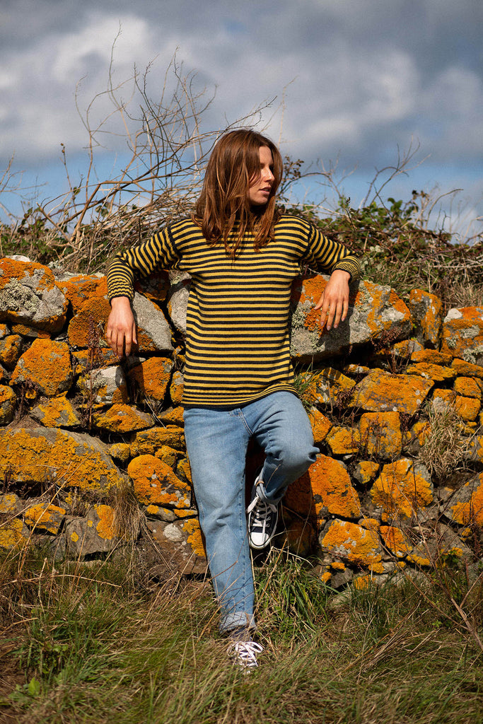 Women's Charcoal & Mustard Striped Traditional Guernsey Jumper