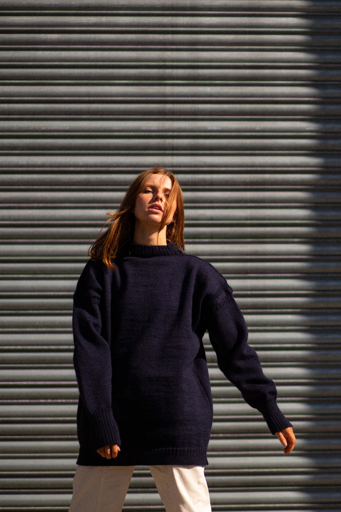 Women's Navy Oversized Slouchy Guernsey Jumper