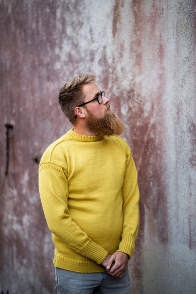 Men's Mustard Traditional Guernsey Jumper