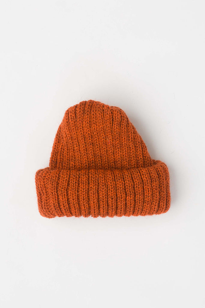 Burnt Orange Dobbo (short knitted beanie)