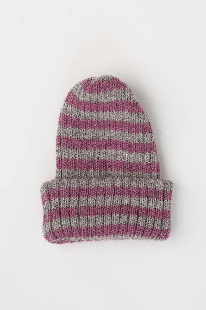 Lupin Pink & Smoke Striped Knitted Beanie