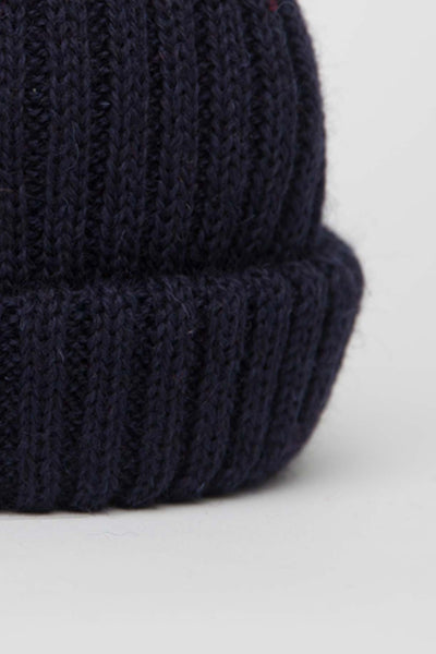 Navy Dobbo (short knitted beanie)