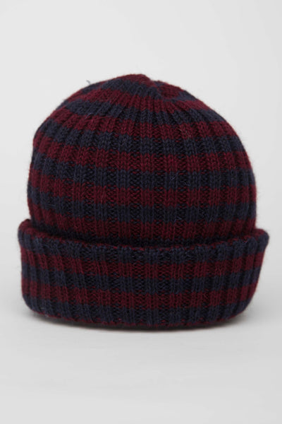 Navy & Burgundy Striped Knitted Beanie