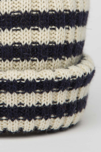 Navy & Cream Striped Knitted Beanie
