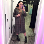 Longline Check Tweed Coat